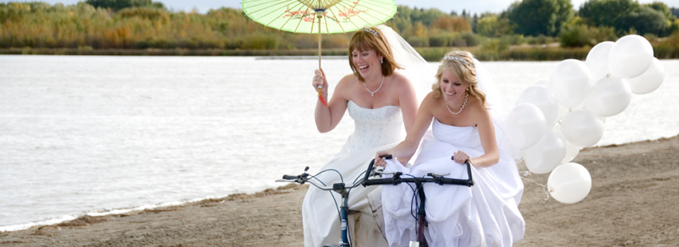 Lesbian brides riding on bikes